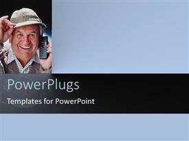 PowerPlugs: PowerPoint template with elderly man with hand on hat smiling as he makes a phone call