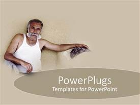 PowerPoint template displaying elderly man in white singlet sitting on a brown background