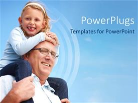 PowerPlugs: PowerPoint template with an elderly mn carrying a small girl on his shoulders