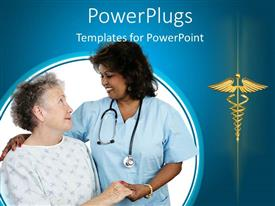 PowerPlugs: PowerPoint template with elderly patient holding hands with a nurse