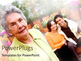 PowerPlugs: PowerPoint template with elderly woman with a couple sitting on a blurry background
