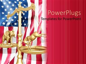 PowerPlugs: PowerPoint template with election theme with 3D golden scale over American flag