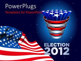 PowerPlugs: PowerPoint template with an election year of America with American flag
