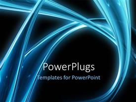 PowerPlugs: PowerPoint template with electric blue curves on black background
