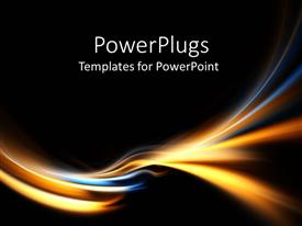 PowerPlugs: PowerPoint template with electric blue and gold curves on black background