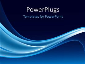 PowerPoint template displaying electric blue waves on navy background