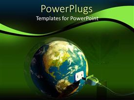 PowerPoint template displaying electric chord connecting into the earth with a green leaf by the side