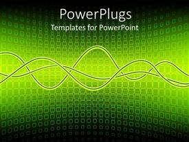 PowerPoint template displaying electric green sine waves on background of square pattern