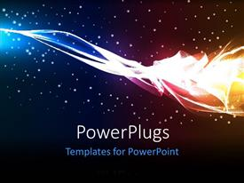 PowerPoint template displaying electric high energy multi color wave glowing particles in the background
