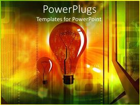 PowerPoint template displaying electric orange light bulbs, energy, power, ideas, technology