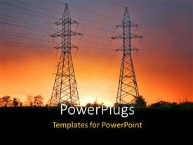 PowerPoint template displaying electric power lines with sunset sunrise dusk