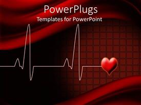 PowerPlugs: PowerPoint template with electrocardiogram wave lines with love shape on red background