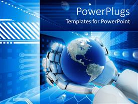 PowerPoint template displaying electronic background world on robot hands  blue aerodynamic  background  graphic background