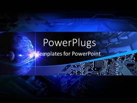 PowerPoint template displaying electronic communication technology banner with earth and chip