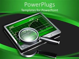PowerPoint template displaying electronic screen with green chart with a magnifying glass