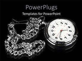PowerPlugs: PowerPoint template with elegant watch with silver chain on black background