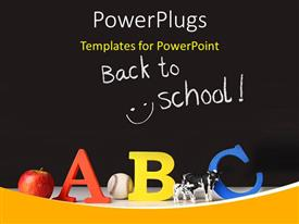 PowerPlugs: PowerPoint template with elementary concept of ABC on a black background