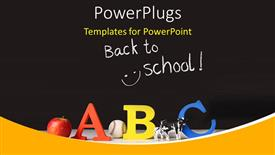 PowerPoint template displaying elementary concept of ABC on a black background