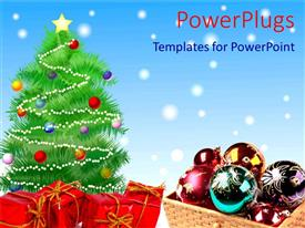 PowerPoint template displaying the elements necessary for Christmas celebrations