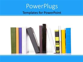 PowerPlugs: PowerPoint template with eleven multi colored books arranged on a white background