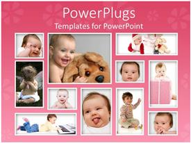 PowerPlugs: PowerPoint template with eleven tiles with different baby pictures with funny facial expressions