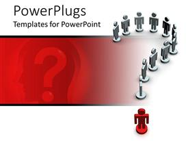 PowerPlugs: PowerPoint template with eleven white and one red 3D human character forming a question mark