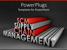 PowerPoint template displaying elongated red and silver color  3D SCM supply chain management text