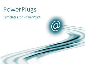 PowerPlugs: PowerPoint template with email at symbol in blue with streak, white background, global network, IT, communications