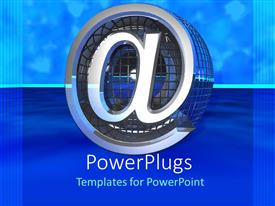 PowerPlugs: PowerPoint template with email symbol with iron gauss on shades of blue background