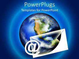 PowerPlugs: PowerPoint template with email at symbol with letter, world Earth globe, blue background