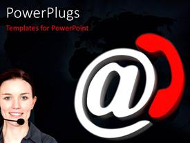 PowerPoint template displaying email symbol with red call sign and customer support agent