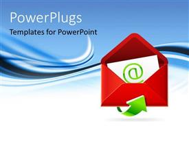 PowerPlugs: PowerPoint template with email symbol on white letter enclosed in red envelope