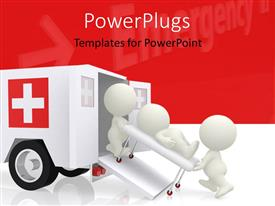 PowerPlugs: PowerPoint template with emergency ambulance with doctors assisting a patient on stretcher with medical symbol
