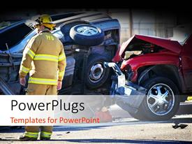 PowerPoint template displaying an emergency officer on an accident scene