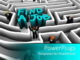 PowerPlugs: PowerPoint template with employment metaphor with people navigating a maze to find a job