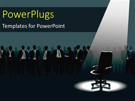 PowerPlugs: PowerPoint template with empty chair under light and crowd of people with aspirations