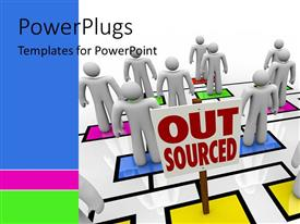 PowerPlugs: PowerPoint template with lots of 3D characters standing on colored boxes with a text that spell out the word 'out sourced'