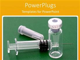 PowerPlugs: PowerPoint template with empty vial with syringe and needle, green background, yellow border, medicine, medical, health, vaccine