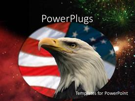 PowerPlugs: PowerPoint template with encircled hawk looks on in front of American flag
