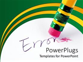PowerPlugs: PowerPoint template with end of a pencil eraser cleaning off an Error text