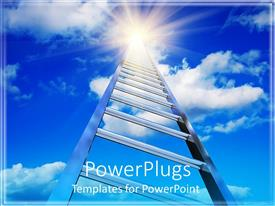 PowerPoint template displaying endless ladder stretching into the blue cloudy sky