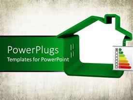 PowerPlugs: PowerPoint template with the energy classification along with a green house depiction