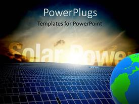 PowerPlugs: PowerPoint template with energy field with sunshine over solar panels and blue earth globe