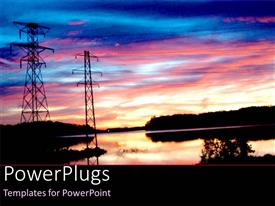 PowerPlugs: PowerPoint template with energy power poles with electricity lines over water with trees in the sunset setting and sky at sunset