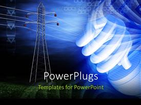 PowerPlugs: PowerPoint template with an energy saver with a bluish background