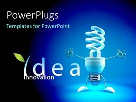 PowerPlugs: PowerPoint template with an energy saver with bluish background and place for text