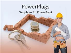 PowerPoint template displaying engineer with construction helmet and brick house surrounding coins with keys