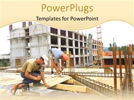 PowerPlugs: PowerPoint template with engineer construction  two worker woking on a building  carpenter work