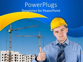 PowerPoint template displaying engineer giving thumbs up at construction site with cranes and building