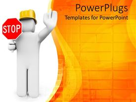 PowerPlugs: PowerPoint template with engineer with helmet on and stop sign to depict danger